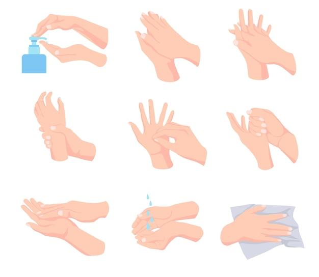 Steps of proper hand hygiene illustrations set