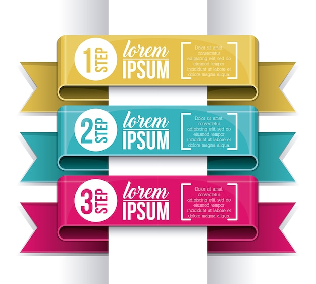 Steps and ribbons icon. infographic data information and options theme. colorful design. vector illu