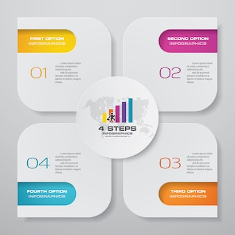 Steps simple editable process chart infographics element.