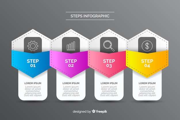 Шаги в стиле инфографики для бизнеса