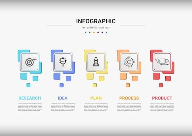 Шаги график бизнес-процесса инфографика элемент шаблона дизайна
