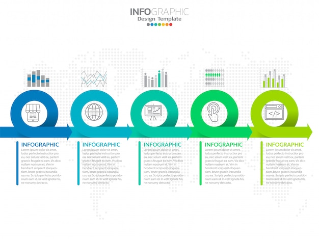 Steps timeline infographic design vector and icons.