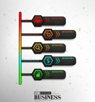 Steps timeline infographic element