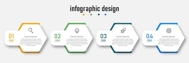 Шаги временной шкалы инфографики дизайн вектор шаблон