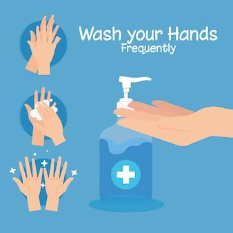 Шаги, часто мытье рук, пандемия коронавируса, самозащита от ковид 19, мыть руки, предотвращать 2019 г.