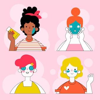 Passaggi della routine di cura della pelle della donna