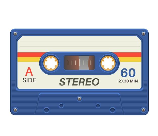 ステレオカセット。ヴィンテージポスターの音楽レコードとレトロなオーディオテープ