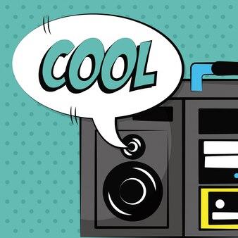 Stereo radio bubble speech pop art vintage