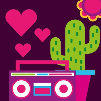 Stereo radio potted cactus hearts love flower free spirit
