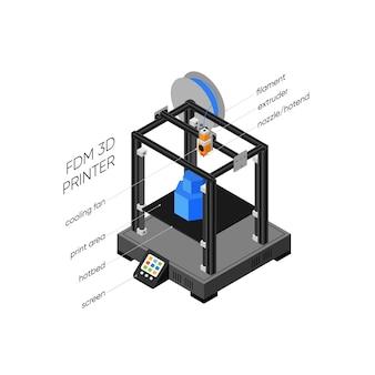 Stereolithography 3d 프린터 아이소 메트릭 그림
