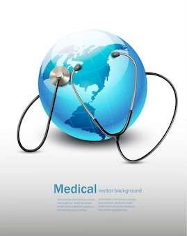 Stethoscope against a globe. vector