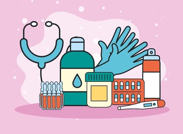 청진기 및 의약품