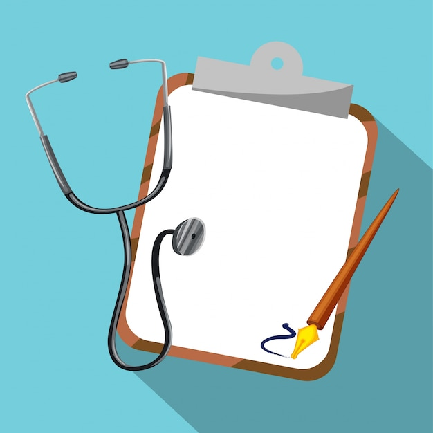 Stethoscope and board on blue background