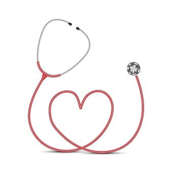 흰색 배경 의료 개념에 고립 된 청진 기 심장 모양