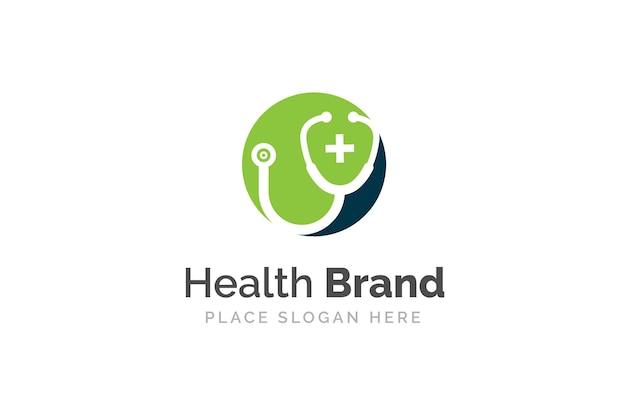 Иллюстрация дизайна значка стетоскопа. шаблон логотипа здравоохранения и медицины.