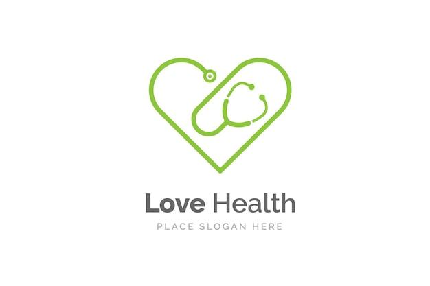 ハート型の聴診器アイコン。健康と薬のシンボル。