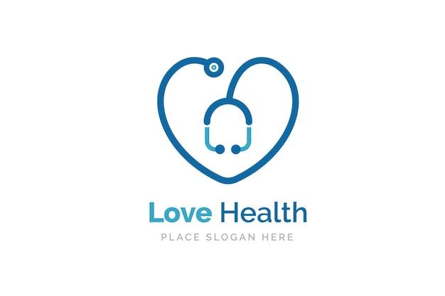 Значок стетоскопа с формой сердца. символ здоровья и медицины.