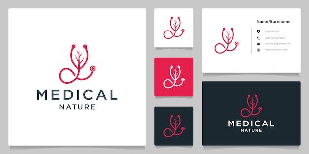 청진기 잎 자연 의료 로고 디자인 선 스타일