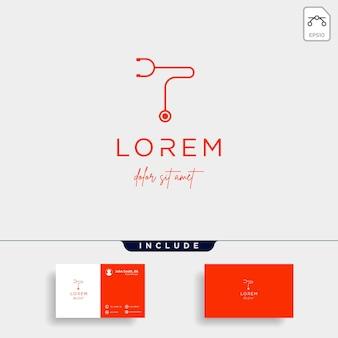Stethoscope t letter logo vector design icon