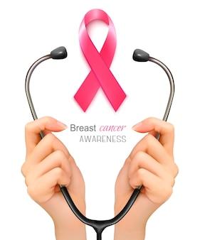 Стетоскоп с лентой, предупреждающей о раке груди