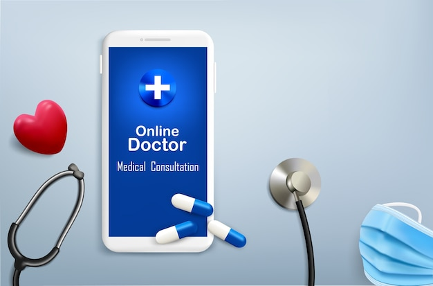 Стетоскоп с лекарством и сердцем для онлайн-врача