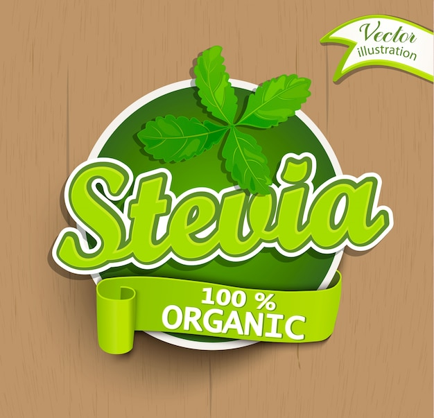 Stevia label, logo, sticker.