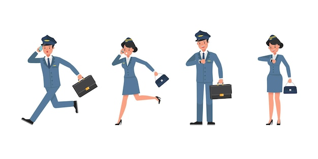 Steward and stewardess character vector design. presentation in various action. no2