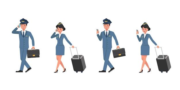 Steward and stewardess character vector design. presentation in various action. no3