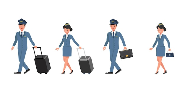 Steward and stewardess character vector design. presentation in various action.