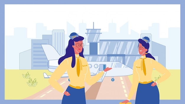 Stewardess in airport color vector illustration