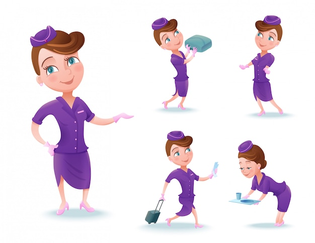 Stewardess cartoon character set