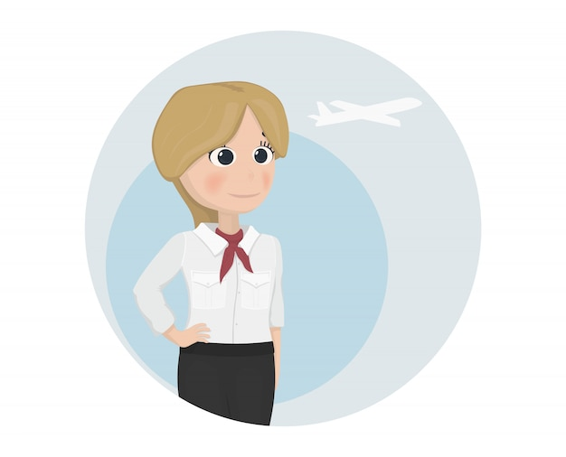 Stewardess cartoon template
