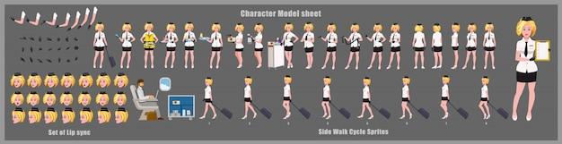 Модель стюардессы с дизайном персонажей с анимацией цикла ходьбы. девушка дизайн персонажей. вид спереди, сбоку, сзади и анимация позы. набор символов с различными взглядами и синхронизацией губ