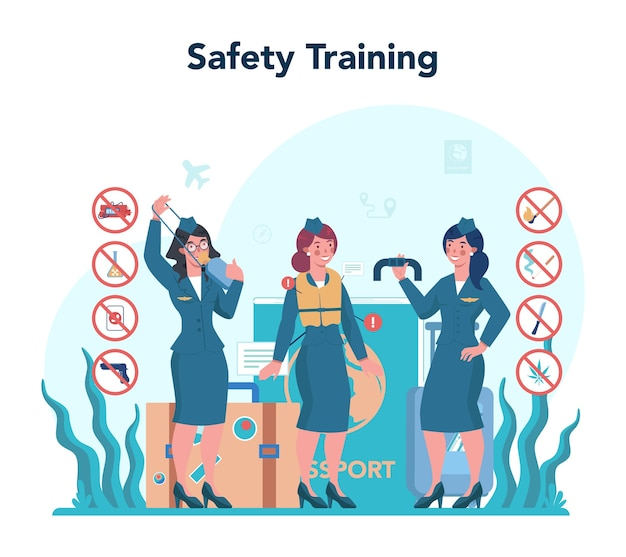 Stewardess concept. beautiful female flight attendants help passenger in airplane. travel by aircraft. idea of professional occupation and tourism.