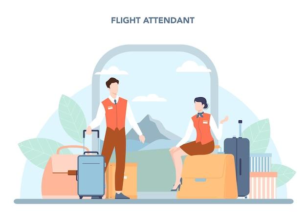 スチュワーデスのコンセプト。客室乗務員は飛行機の乗客を助けます。飛行機で旅行します。専門職と観光のアイデア。分離されたフラットベクトル図