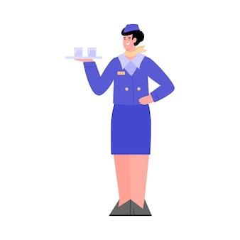 トレイで飲み物を提供する航空機会社のスチュワーデス従業員