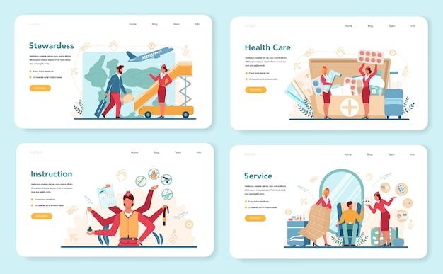 Веб-баннер или целевая страница службы здравоохранения стюардессы