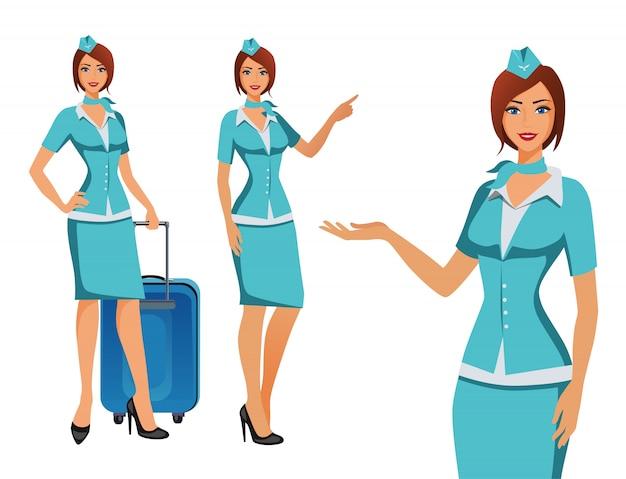 青い制服を着たスチュワーデス。飛行機の乗務員、情報を指さしている、またはバッグを持って立っている飛行機のホステス。