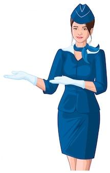 Стюардесса в синей униформе показывает. молодая красивая женщина в кепке и белых перчатках
