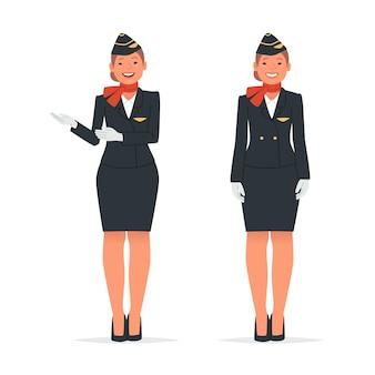 흰색 배경에 두 포즈의 스튜어디스입니다. 여성 승무원이 당신을 비행기에 앉으라고 초대합니다. 평면 스타일의 벡터 일러스트 레이 션
