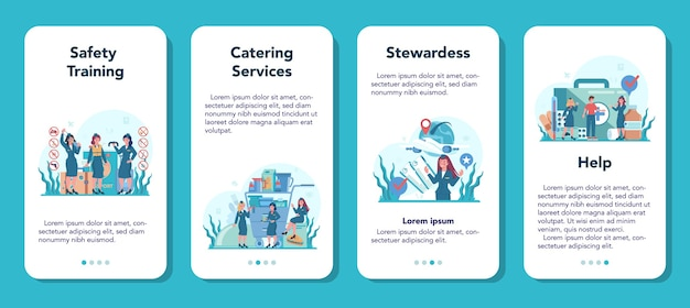 Stewardess mobile application banner set. beautiful female flight attendants help passenger in airplane. travel by aircraft. idea of professional occupation and tourism.