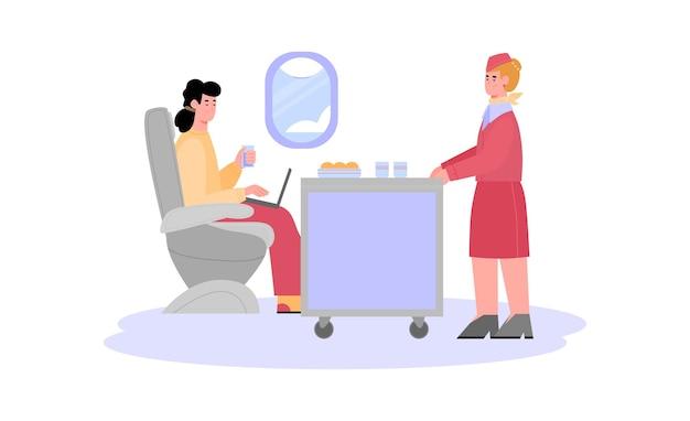 飛行機の乗客に食べ物フラット漫画ベクトルイラストを提供するスチュワーデス