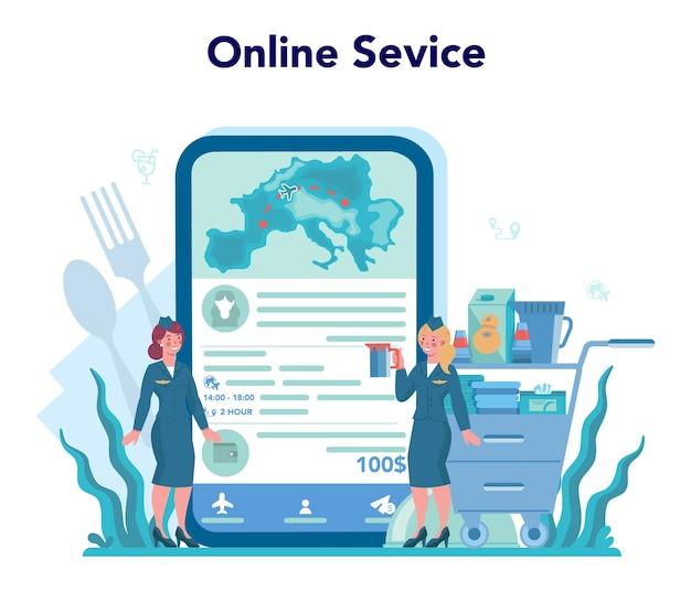 Онлайн-сервис или платформа стюардессы. красивый женский полет