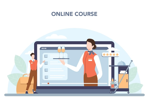 Онлайн-сервис или платформа стюардессы. бортпроводники помогают пассажиру