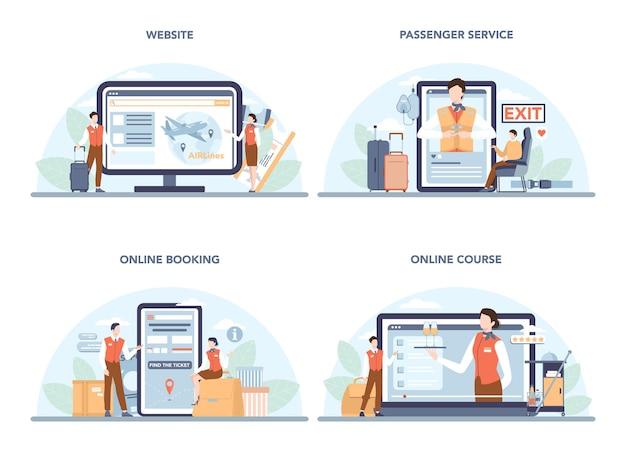 スチュワーデスのオンラインサービスまたはプラットフォームセット。フラットベクトルイラスト