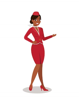 Stewardess in red uniform in full growth.