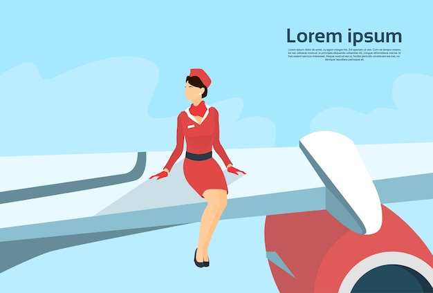 Stewardess sit on airplane wing copy space