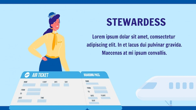 Stewardess vector web banner layout with copyspace