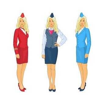 Stewardess wear uniform set airline crew