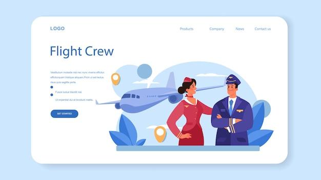 スチュワーデスのウェブバナーまたはランディングページ。客室乗務員は飛行機の乗客を助けます。飛行機で旅行します。専門職と観光のアイデア。分離されたフラットベクトル図